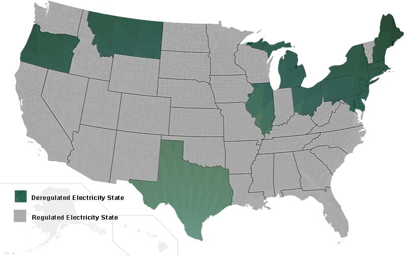US Map of Deregulated vs Regulated Electricity States