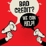 Cartoon With Text that Reads Bad Credit? We Can Help
