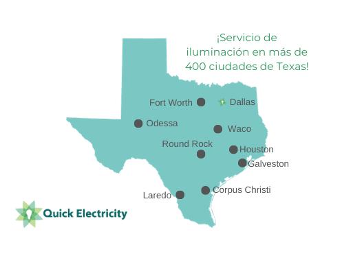 ¡Servicio de iluminación en más de 400 ciudades de Texas!
